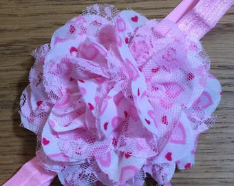 Pink & White Satin and Lace Elastic Headband