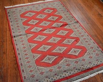 Fine Bokhara Jaldar Rug, Red, 3'10''x5'11'', All wool pile
