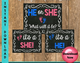Gender Reveal Party Signs - Gender Reveal Sign Printable - He or She Instant Download - Photo Props - Chalkboard Sign