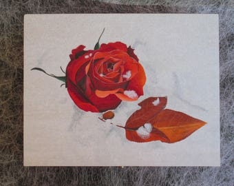 Wooden Jewelry box hand painted with red rose in the snow, wooden jewelry box, jewelry box, Storage of jewelry