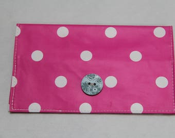 Checkbook pink oilcloth with white polka dots