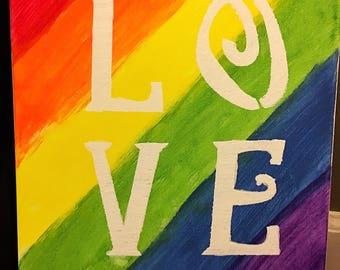Handmade Love Pride Canvas  Painting LGBT