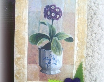 SMALL purple flowers for decoration shabby frame