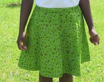Green flared women skirt