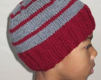 Bonnet child boy red and gray