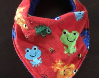 Multicolor Frog Bandana Bib - Gender Neutral