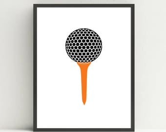 Golf Tee,  Golf Nursery Art, Kids Golf Bedroom, Golf wall art prints, Choose your color