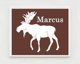 Personalized Moose Print, Moose Nursery Art, Woodland Nursery Art, Custom Name Art, Kids Wall Art, Woodland Bedroom, Custom Animal Art
