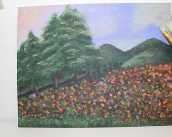 Original Flower Field Painting on Canvas