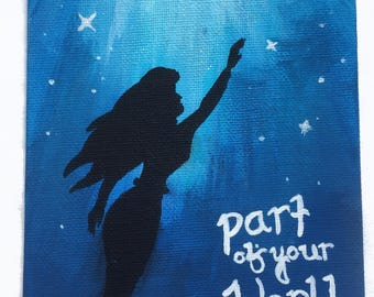 Little Mermaid Part of Your World Glow in the Dark Acrylic Painting 5 x 7