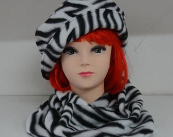 Hat + Zebra fleece snood, black and white fully lined