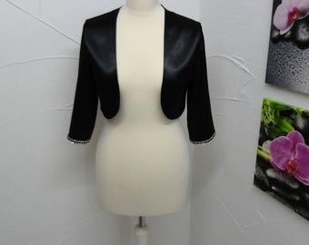 Bolero in black satin with Rhinestones with 3/4 sleeves