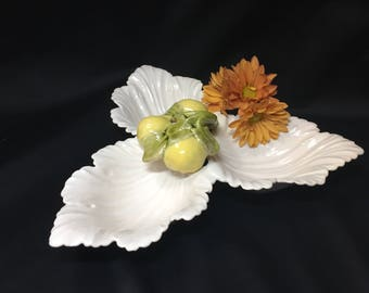 Vintage Divided Dish White Leaves Lemon Handle