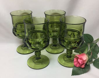 Wine Glasses Water Goblets Tiffin King's Crown Thumbprint Olive Green - set of 4