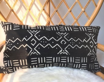 """Amazing Antiqued African Mudcloth Hand Stitched Black & White Pillow Cover - 16"""" x 26"""" - 20"""" x 20"""" - 25"""" x 25"""" - also available"""