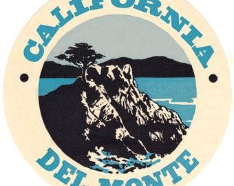 Vintage Style Del Monte California monterey peninsula  1950's Travel Decal sticker label