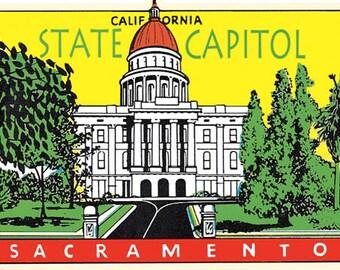 Vintage Style Sacramento California State Capitol    Travel Decal sticker