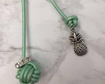 Monkey fist knot bookmark with a antique silver pineapple charm