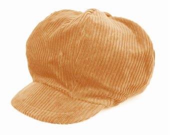 Beige corduroy newsboy cap