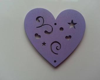 coeur en bois de couleur mauve  65*60mm