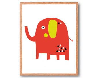 Elephant, decorative picture for children's room and baby, Baby Animal, animal of the forest nursery, Animal Print, baby Zoo Animal