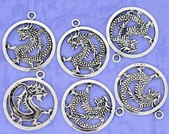 32 mm antique silver metal (x 1) dragon pendant