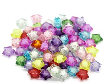 20 star transparent acrylic beads