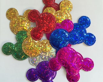 10 appliques to stick or sew shape holographic mouse head (mix color)