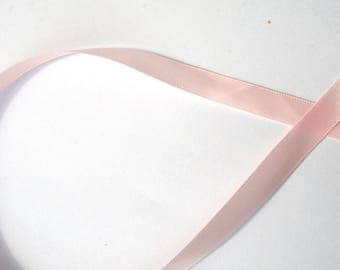 Satin ribbon pink 9 mm wide sold by the yard