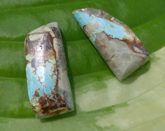Pair of Nevada Ribbon Turquoise Cabs