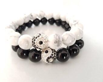 Couple/yinyang bracelet/howlite/shiny black onyx bracelet
