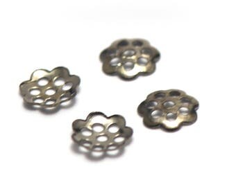 100 bead caps filigree 6 x 1 mm, gun metal