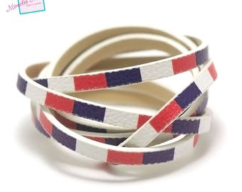 """1 m Strip split leather 5 x 2 mm """"various No. 13"""", blue/white/red"""