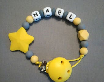 Personalized pacifier silicone - yellow/gray