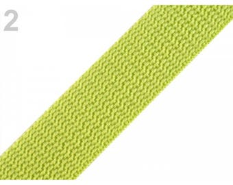 1 meter of 20 mm lime nylon webbing