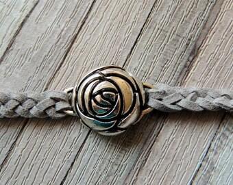 Gray Rosebud metal and braided suede bracelet