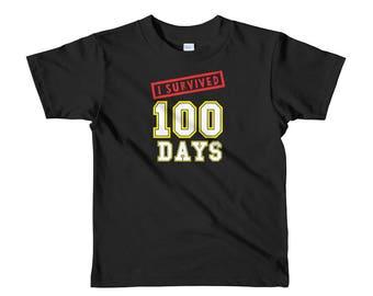 I Survived 100 Days of School kids t-shirt grammar school great gift school calendar celebration special day education teachers students