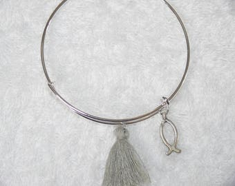 Silver tassel and fish bracelet