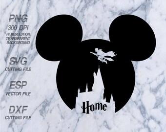 Mickey head Hogwarts castle  Disney, SVG,Clipart,esp,dxf,png 300 dpi