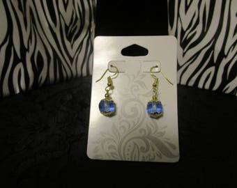 Frosted Blue & Gold Earrings