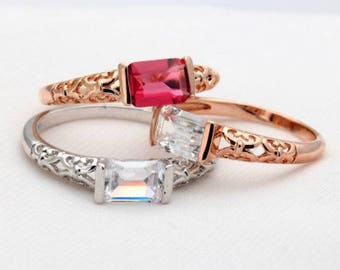 Simple CZ, Rose Gold or Silver Color Fashion Crystal Ring