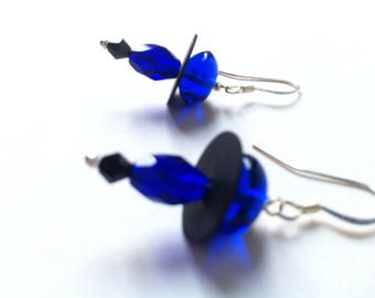 Prussian blue and black earrings