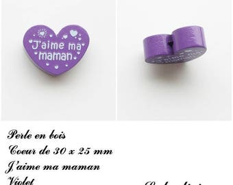 30 x 25 mm wooden bead, Pearl flat heart, I love my Mom: Violet