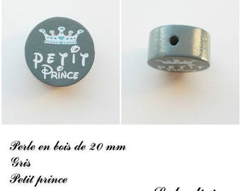 20 mm wooden bead, Pearl flat, little prince: gray