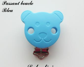 Clip / buckle silicone pacifier clip, Clip, Teddy bear: Blue