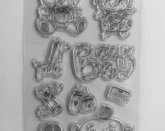 Stamps - clear stamp set - Teddy bear toy baby giraffe baby Theme silicone bottle doll pin has safety