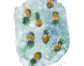 pineapples in water - print