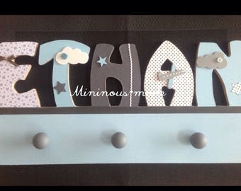 Name personalized integrated ETHAN entirely hand made wooden coat rack