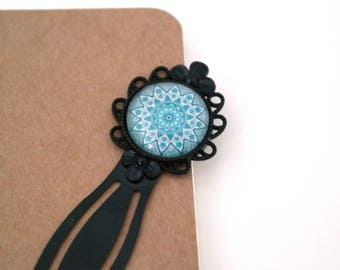 Brand pages black and blue, turquoise mandala cabochon bookmark