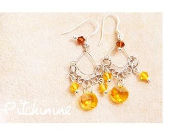 Light silver, yellow swarovski crystal elegant Arabesque